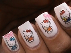 Hello kitty nail art tutorial & How to use nail art stickers - Easy Cute Nails Designs Polish 3D