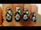 Black and White One Stroke Flowers Design on Nude Background Nail Art Tutorial